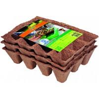 Geperste groeipotjes vierkant - 3 trays á 12 stuks