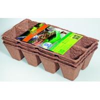 Geperste groeipotjes vierkant - 3 trays á 8 stuks