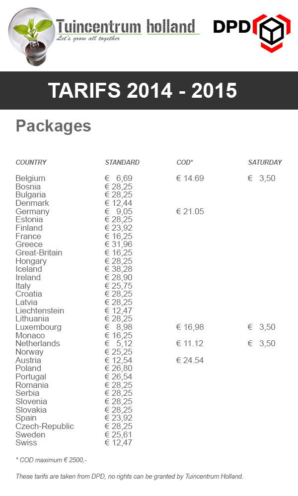 Shipping costs with DPD Parcel Service
